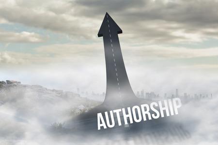 authorship: The word authorship against road turning into arrow Stock Photo