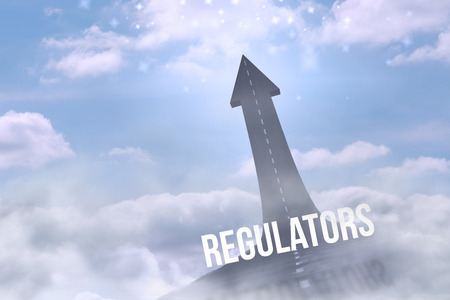 regulators: The word regulators against road turning into arrow Stock Photo
