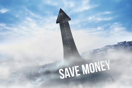 The word save money against road turning into arrow
