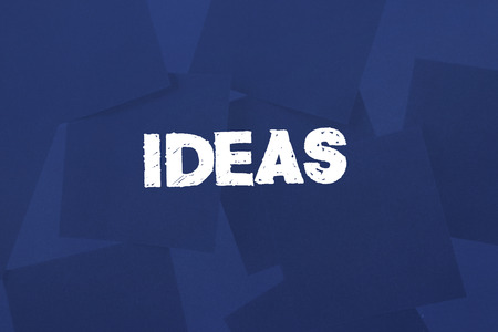 untidy text: The word ideas against digitally generated blue paper strewn