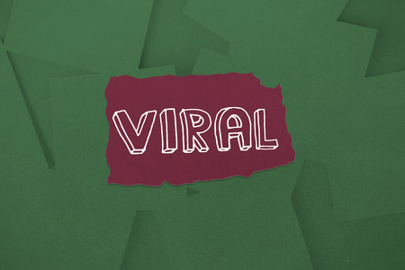 untidy text: The word viral against digitally generated green paper strewn