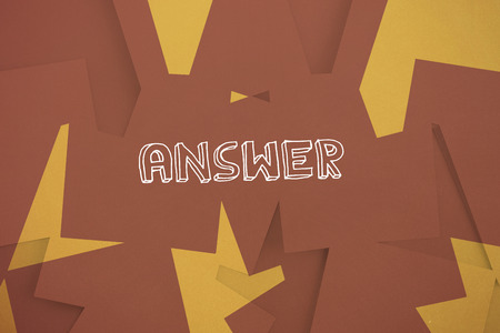 untidy text: The word answer against brown paper strewn over orange