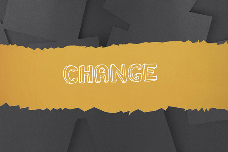untidy text: The word change against digitally generated grey paper strewn