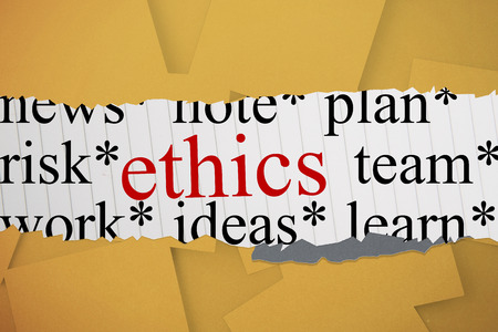 untidy text: The word ethics against digitally generated orange paper strewn