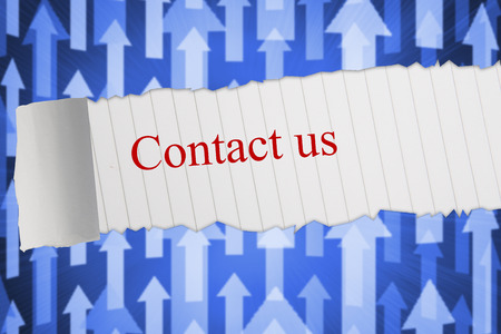 The word contact us against futuristic arrow pointing upwards photo