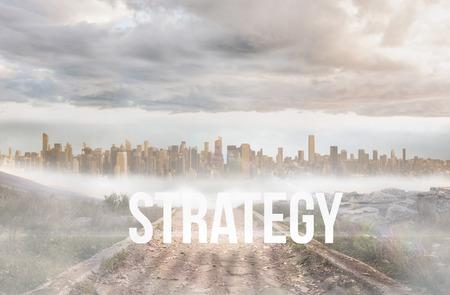 urban sprawl: The word strategy against stony path leading to large urban sprawl Stock Photo