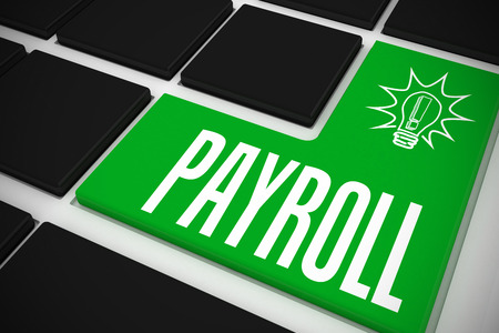 The word payroll and idea and innovation graphic on black keyboard with green key photo