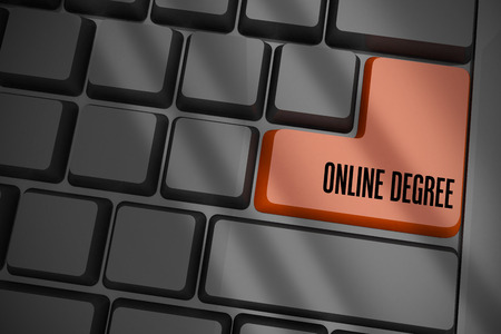 online degree: The word online degree on black keyboard with brown key Stock Photo