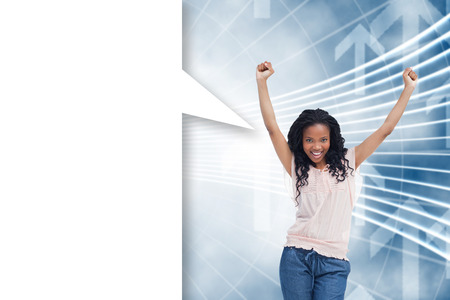 A young happy woman with speech bubble against arrow graphics in blue and white photo