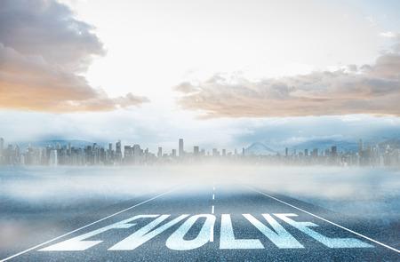 evoluer: Le mot �voluer contre grande ville � l'horizon
