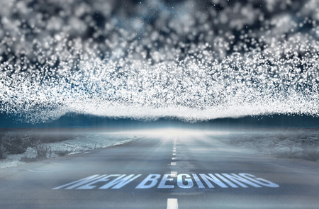 begining: The word new begining against bright stars of energy over landscape