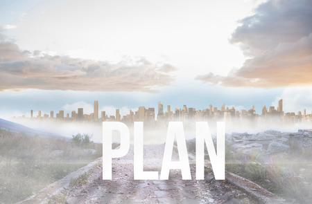 urban sprawl: The word plan against rocky path leading to large urban sprawl