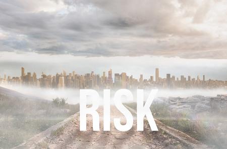 urban sprawl: The word risk against stony path leading to large urban sprawl