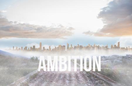 urban sprawl: The word ambition against rocky path leading to large urban sprawl