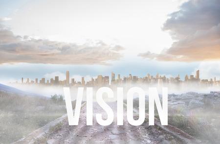 urban sprawl: The word vision against rocky path leading to large urban sprawl Stock Photo