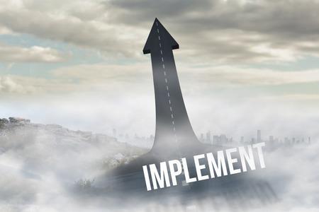 implement: La parola attuare contro la strada si trasforma in freccia