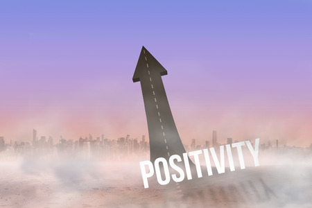 positivity: The word positivity against road turning into arrow