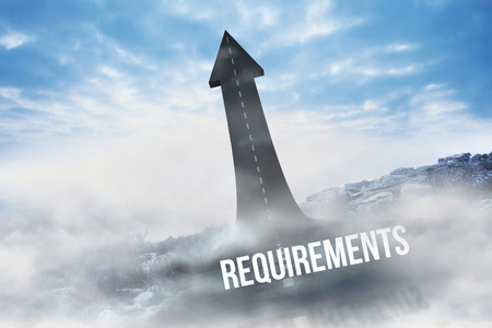 The word requirements against road turning into arrow