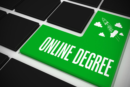 The word online degree and idea and innovation graphic on black keyboard with green key photo