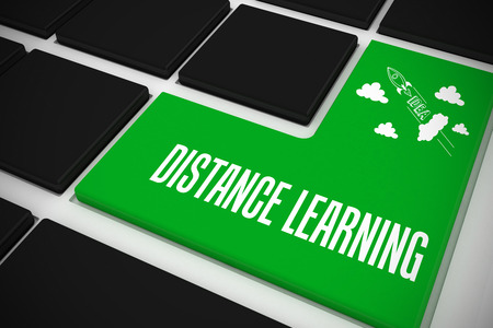 The word distance learning and idea and innovation graphic on black keyboard with green key photo