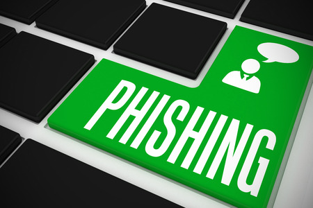 scamming: The word phishing and businessman and speech bubble on black keyboard with green key