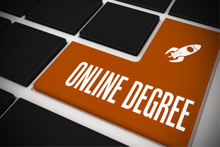 online degree: The word online degree and rocket ship on black keyboard with orange key Stock Photo