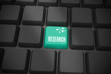 The word research and idea and innovation graphic on black keyboard with green key photo