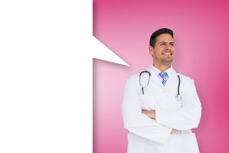 Handsome doctor with arms crossed and speech bubble against pink vignette photo