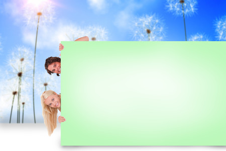 composite image: Composite image of attractive couple showing green card