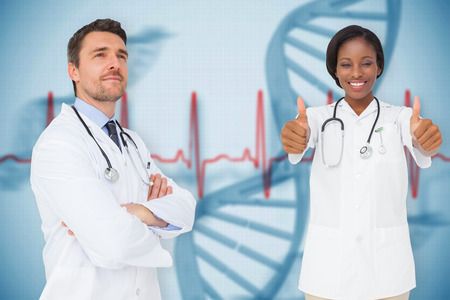 Composite image of medical team against blue medical background with dna and ecg photo