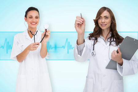 Composite image of medical team against medical background with blue ecg line photo