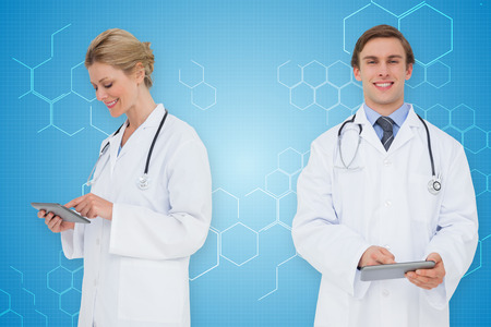 Composite image of medical team against chemical structure in blue and white photo