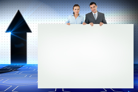 Composite image of business partners showing white card photo