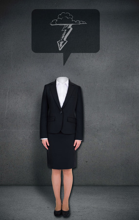 Composite image of headless businesswoman with lightning in speech bubble in grey room photo