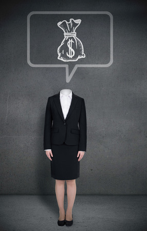 Composite image of headless businesswoman with money bag in speech bubble in grey room photo