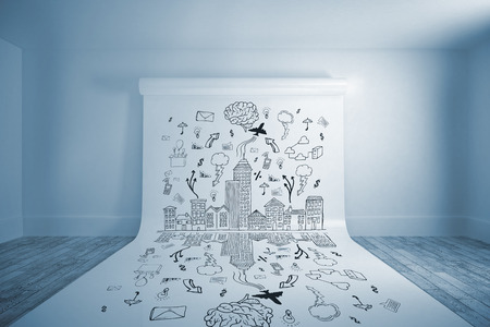 Cityscape with brainstorm against large white screen hanging on wall photo