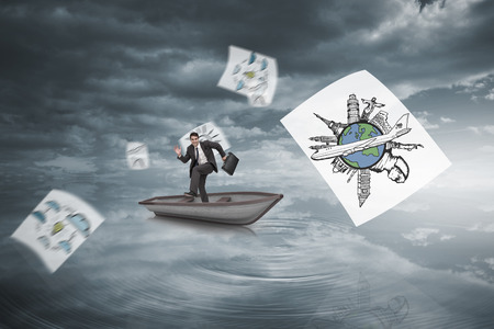 Composite image of happy businessman in a sailboat in rippling water under dark sky photo