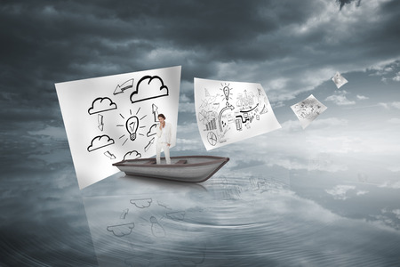 Composite image of thinking businesswoman in a sailboat in rippling water under dark sky photo