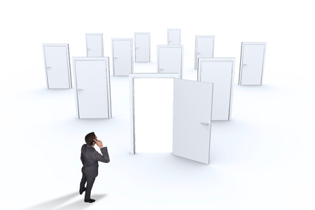 many doors: Thinking businessman scratching head against many doors with one opening