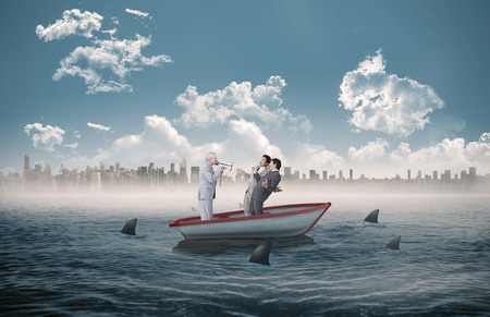 circling: Senior salesman with megaphone yelling at his employees against sharks circling a small boat in the sea