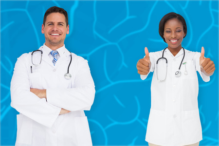 Composite image of medical team against blue brain background photo