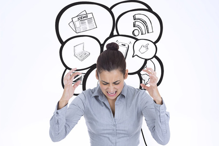 woman looking down: Furious businesswoman gesturing against speech bubbles with app icons Stock Photo