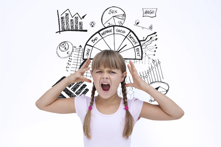 worse: Crazy little girl against data analysis doodle