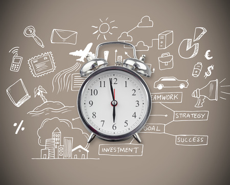 Alarm clock against grey background with vignette photo
