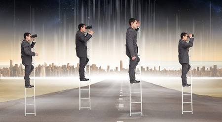 Multiple image of businessman on ladder against cityscape on the horizon photo