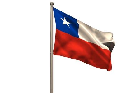 Digitaal gegenereerde chili nationale vlag op een witte achtergrond Stockfoto