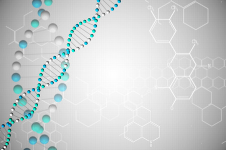 Digitally generated DNA helix in blue with chemical structures