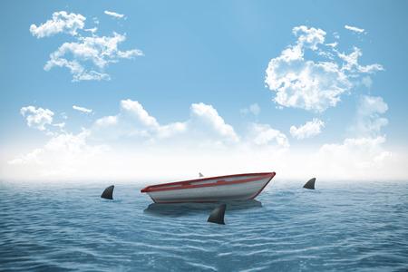 circling: Digitally generated sharks circling small boat in the ocean Stock Photo