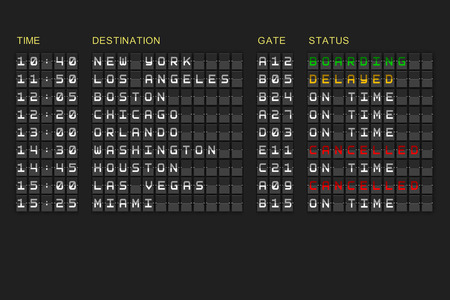 orlando: Departures list on digitally generated black mechanical board