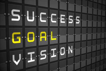 Goal buzzwords on digitally generated black mechanical board photo